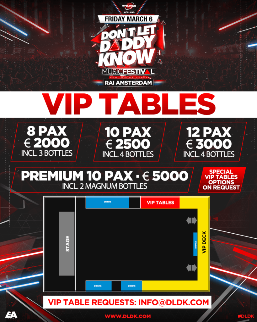 VIP table experiences at DLDK including bottle service